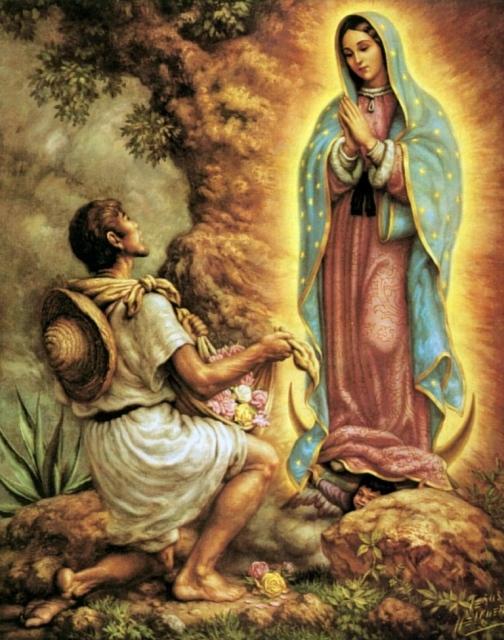 San JuanDiego y La Virgen de Gpe, Óleo sobre lienzo, Jesus Helguera