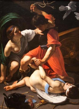 Mars Chastising Cupid by Bartolomeo Manfredi